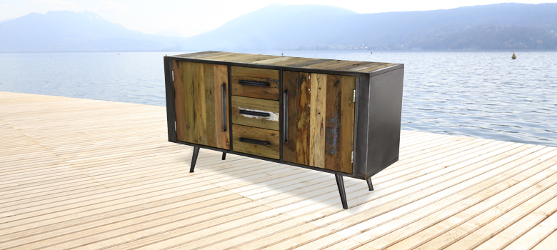 Meuble tv bois style industriel 2 niches zago store for Meuble zago