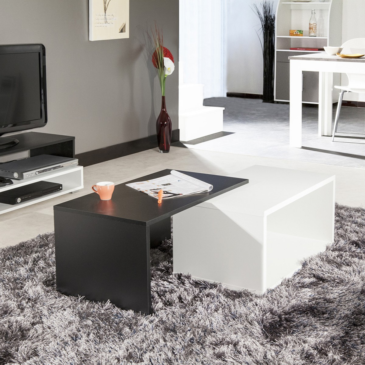 Meuble bas finition ch ne gris 4 portes 1 tiroirs elba for Table basse rubis