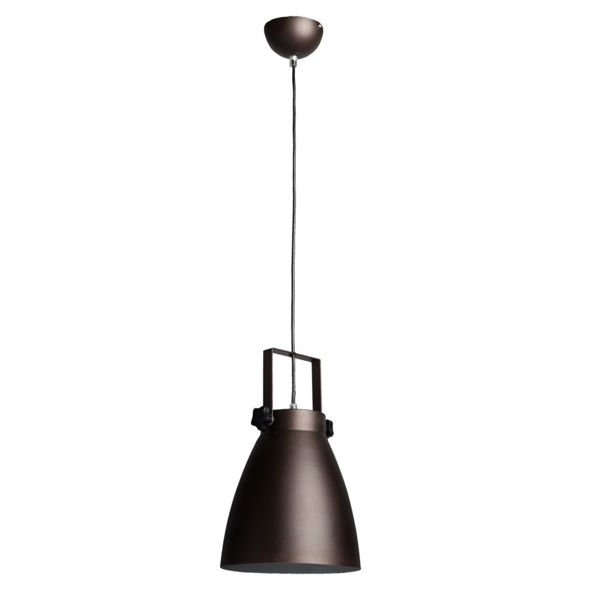 Suspension style industriel ovale m tal laqu marron mate - Suspension style industriel ...