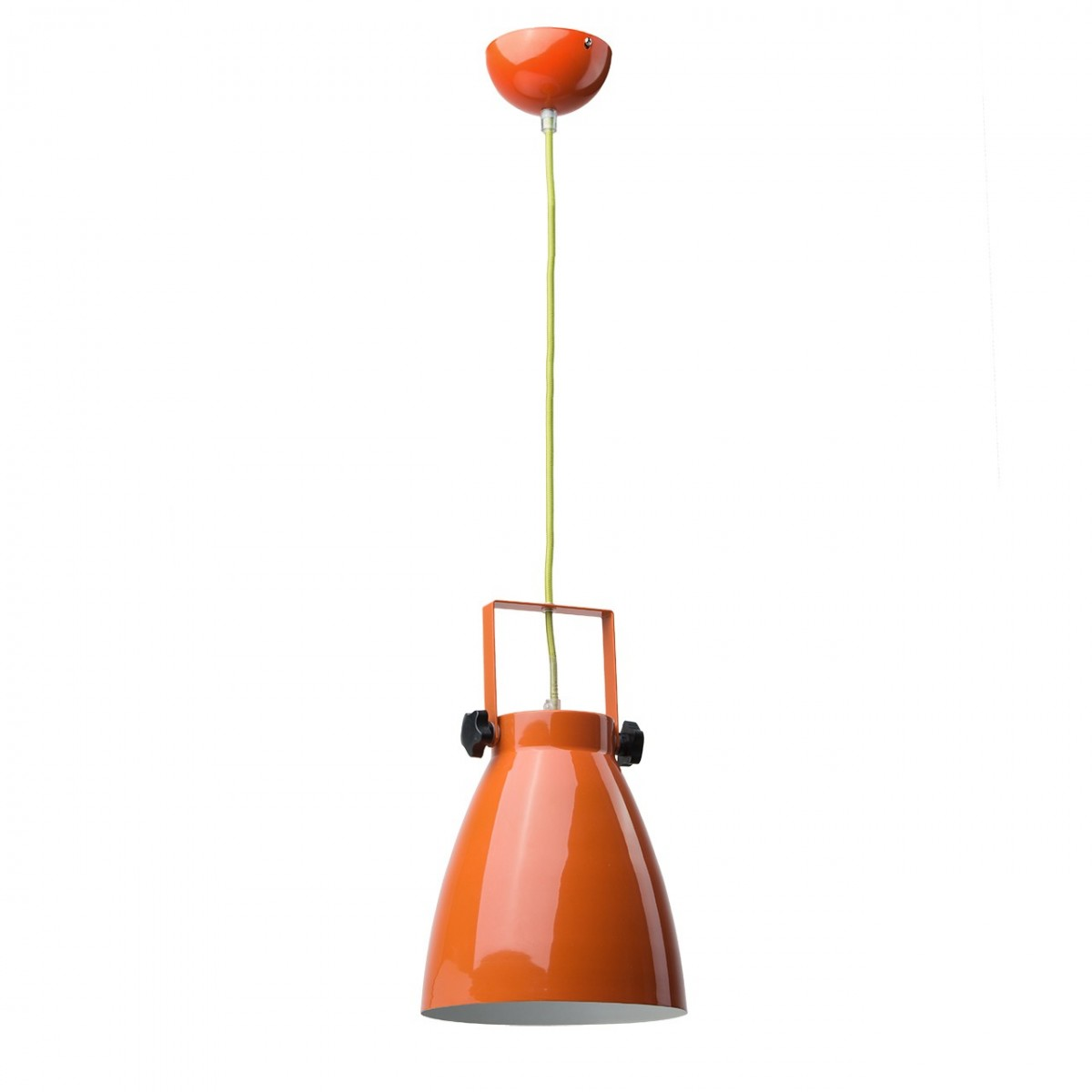 Suspension Style Industriel Ovale M Tal Laqu Orange Brillant Mooviin