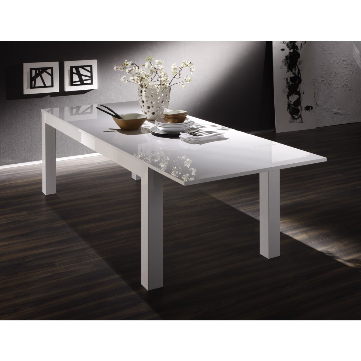 Table laquee blanche rectangulaire avec allonge 160 cm amalfi mooviin for Table laque 8 places