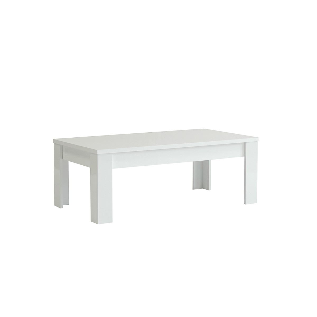 Table basse laqu blanc 122 cm amalfi mooviin for Petite table basse blanc laque