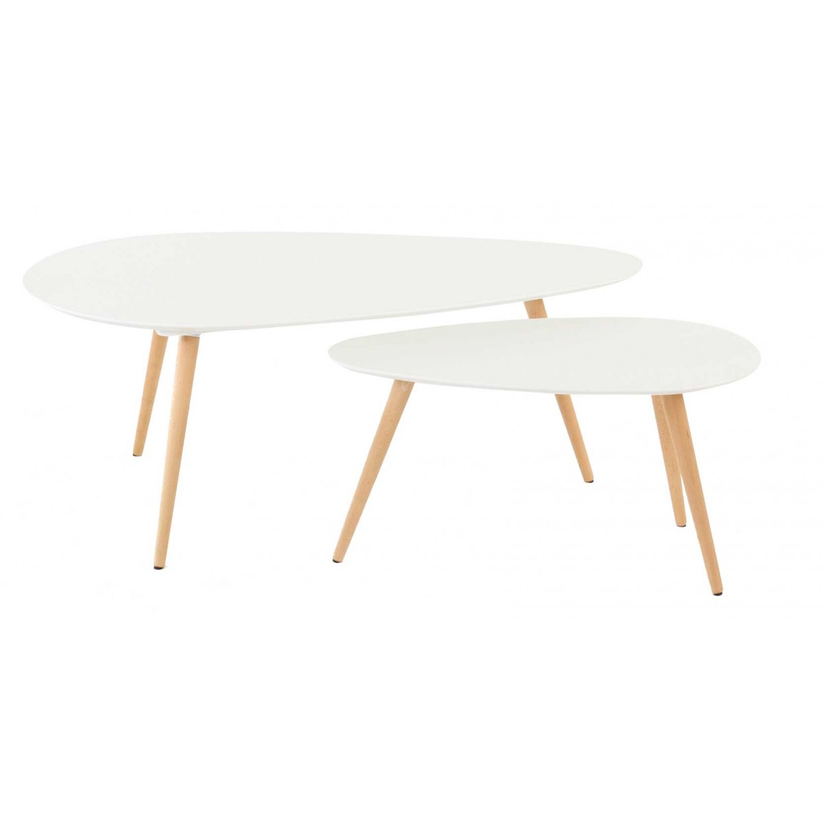 Tables basses gigognes ch ne et laqu blanc 116 cm scandie for Table basse scandinave blanc laque