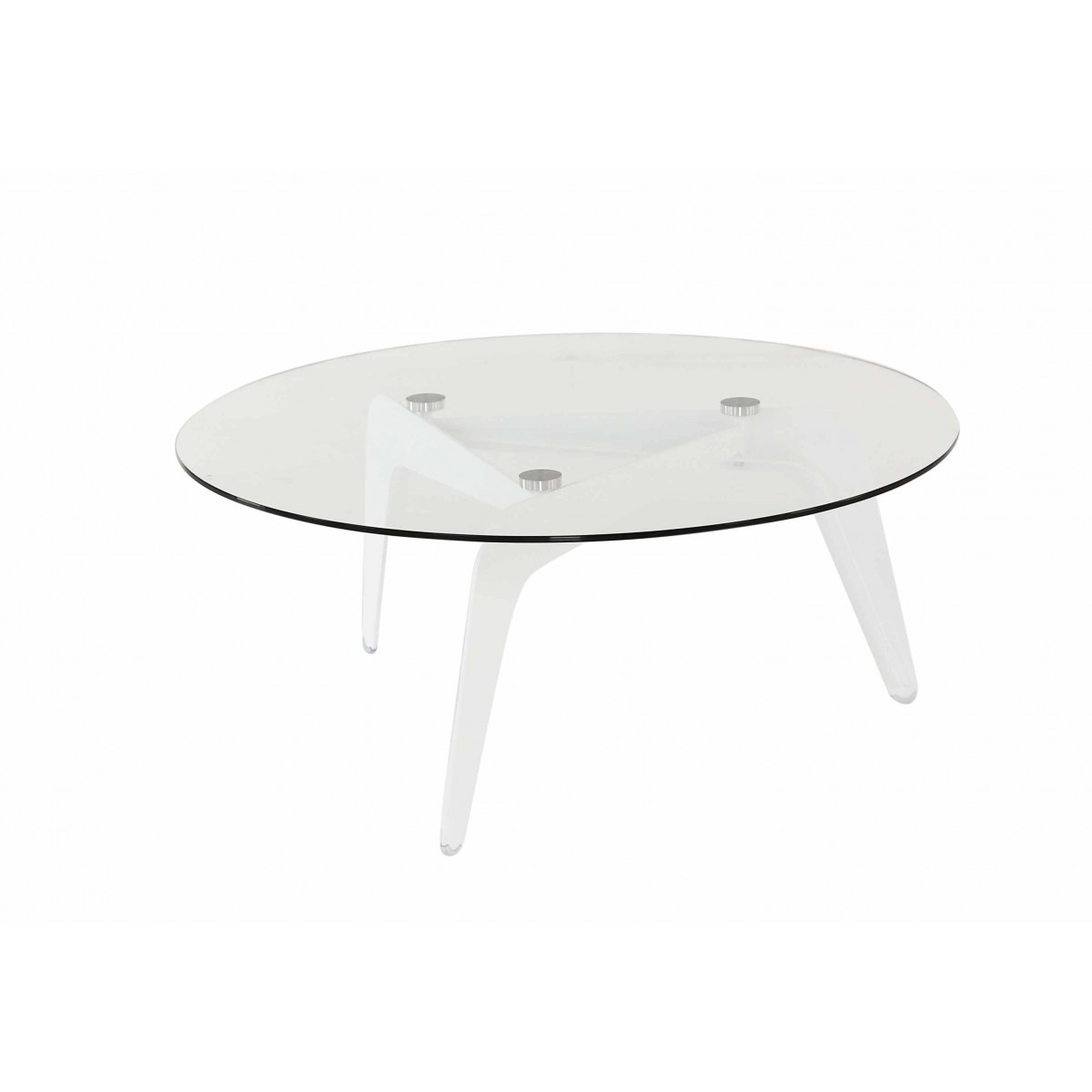 Table basse ronde en verre design mooviin for Table de salon plexiglass