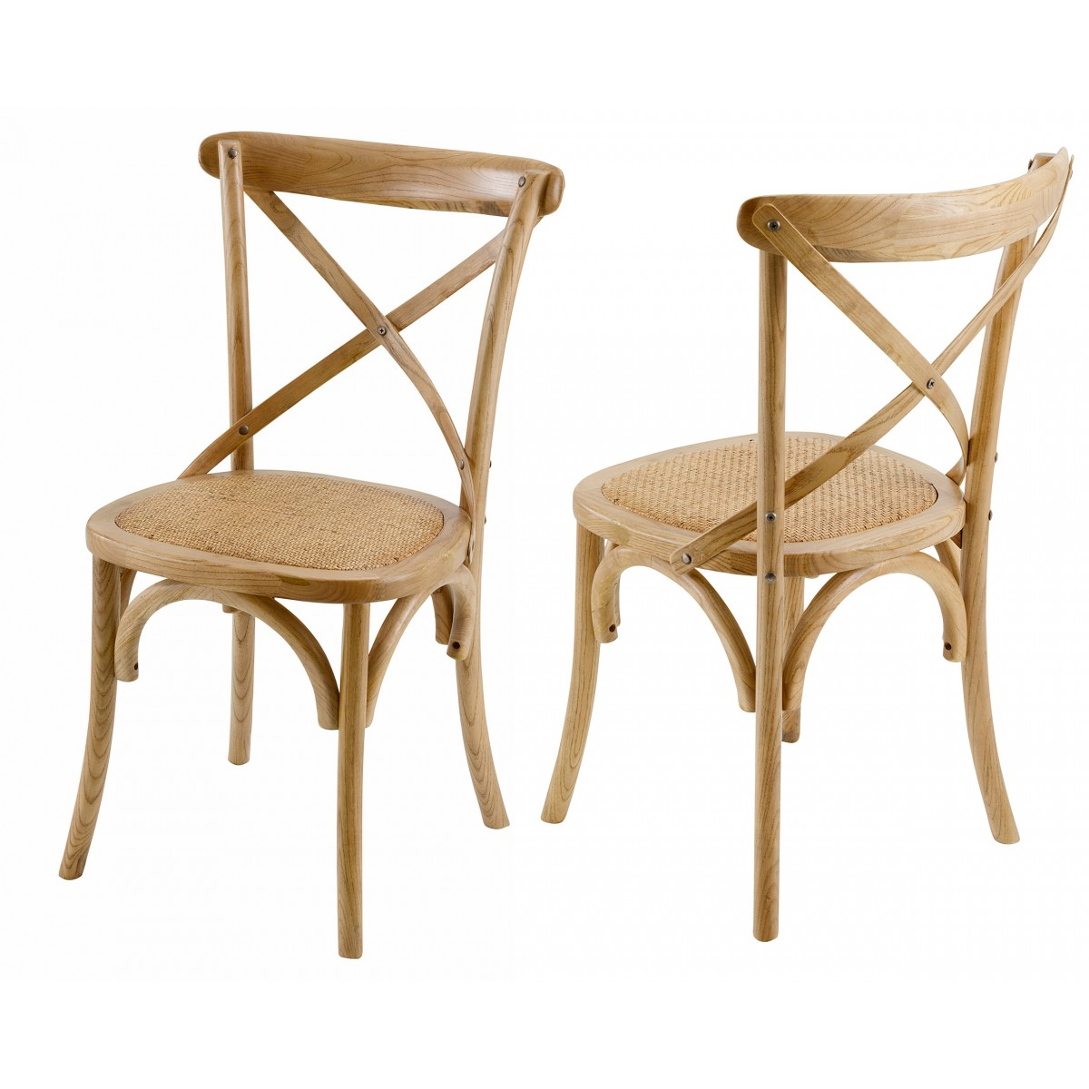 Chaise bistrot naturelle lot de 2 mooviin for Chaise de bistrot en bois