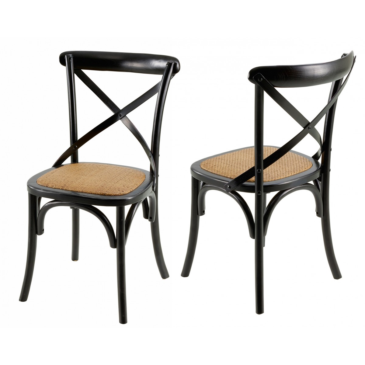 chaises bistrot noire villa florence lot de 2 mooviin. Black Bedroom Furniture Sets. Home Design Ideas