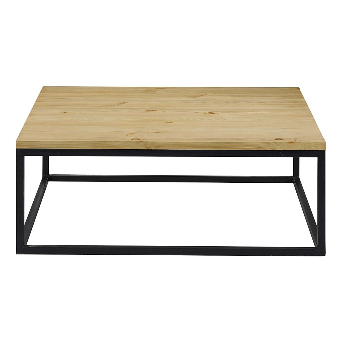Table basse carr e 100 cm pin et m tal city mooviin - Table basse connectee ...