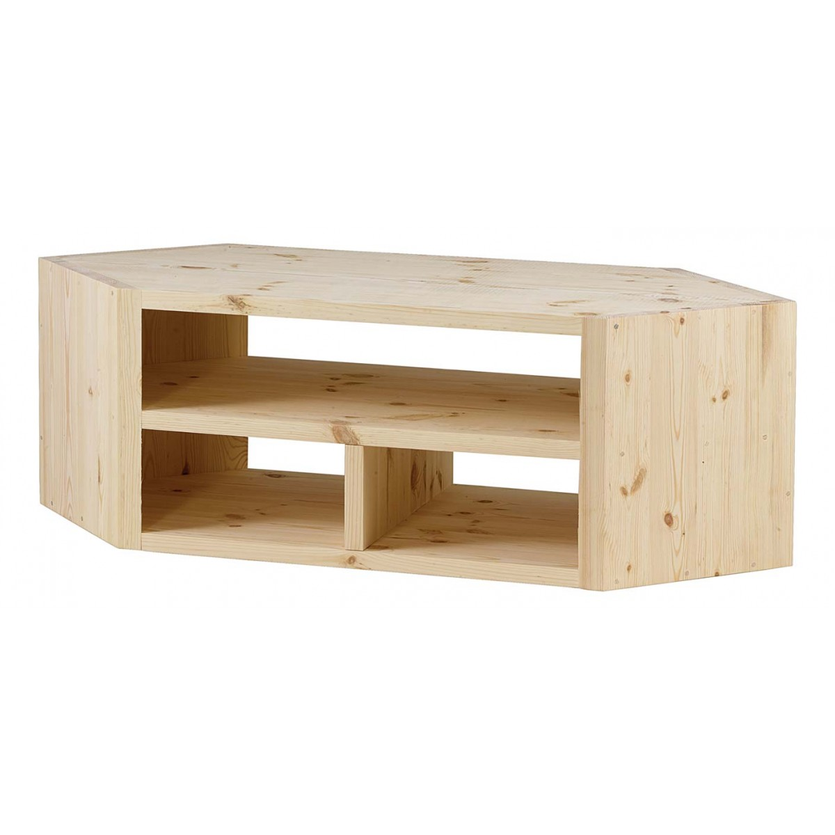 Meuble tv d 39 angle design pin massif brut 3 niches - Meuble tv d angle en bois ...