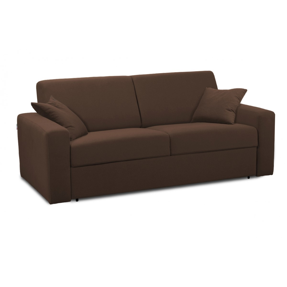 canap convertible 3 places tissu marron couchage 140 x 190 cm nove mooviin. Black Bedroom Furniture Sets. Home Design Ideas