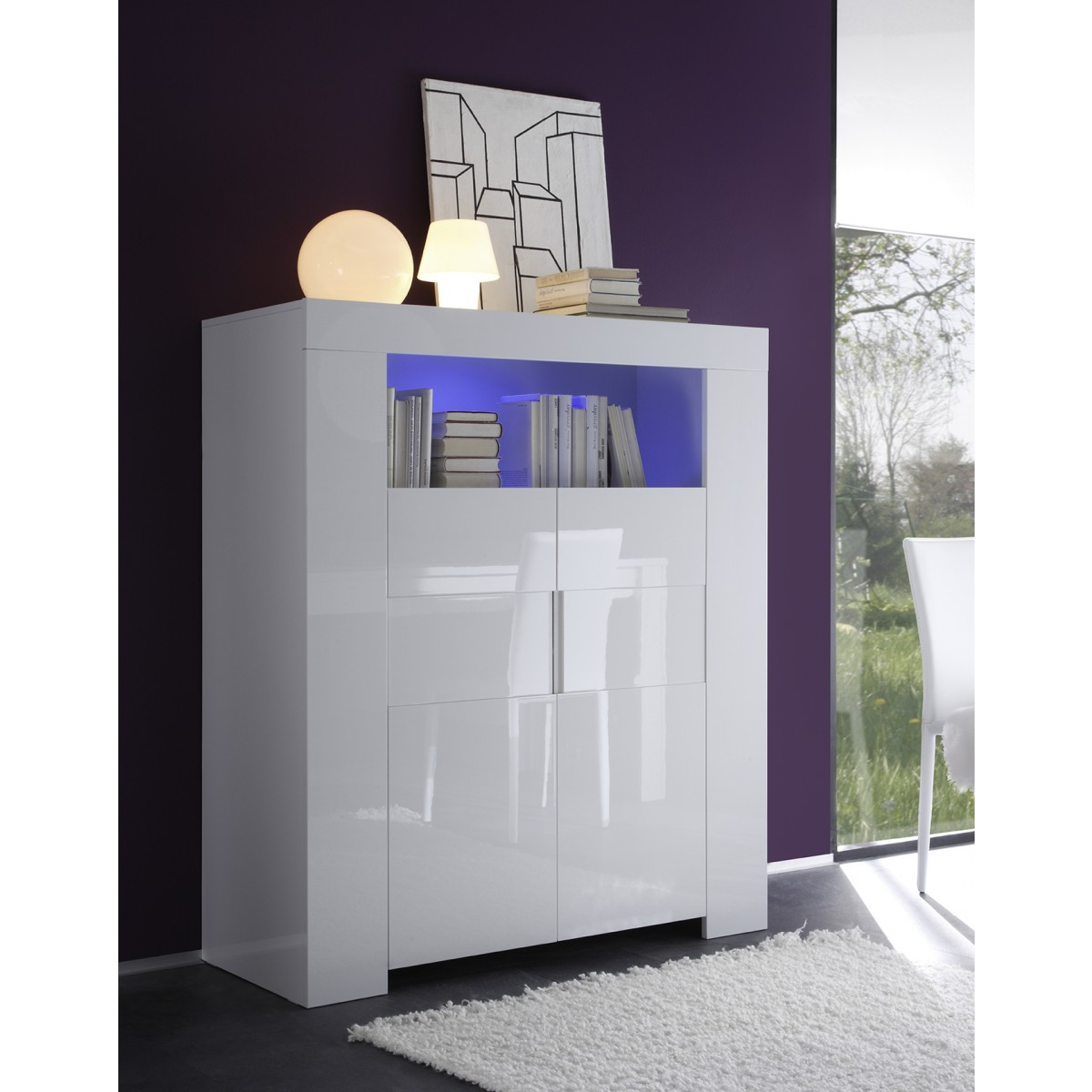 meuble haut laqu blanc 2 portes eos mooviin. Black Bedroom Furniture Sets. Home Design Ideas
