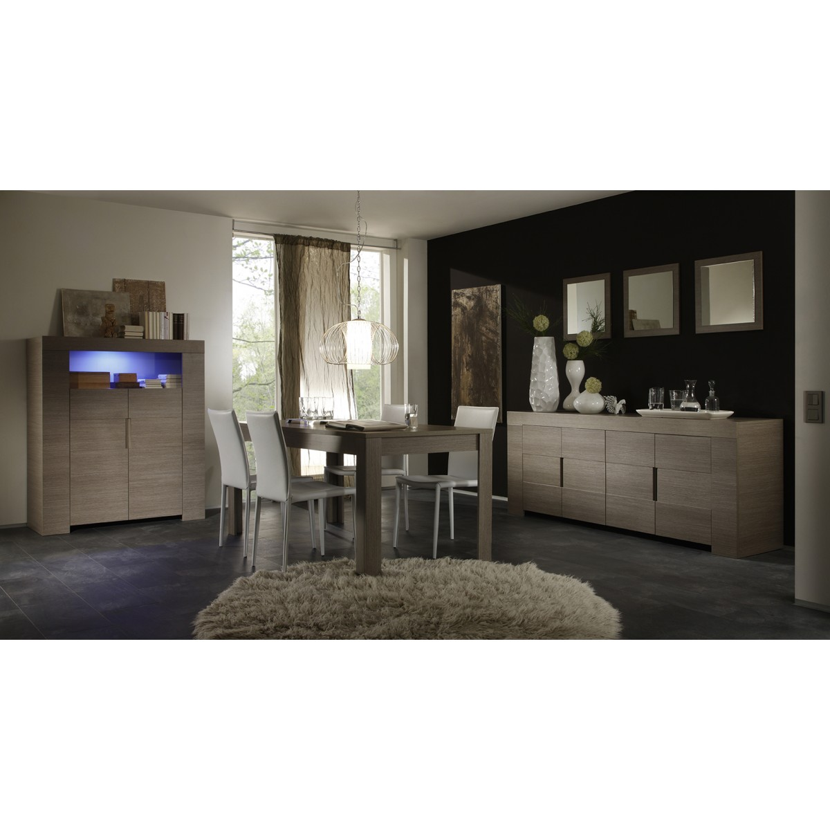 salle manger imitation ch ne grise. Black Bedroom Furniture Sets. Home Design Ideas