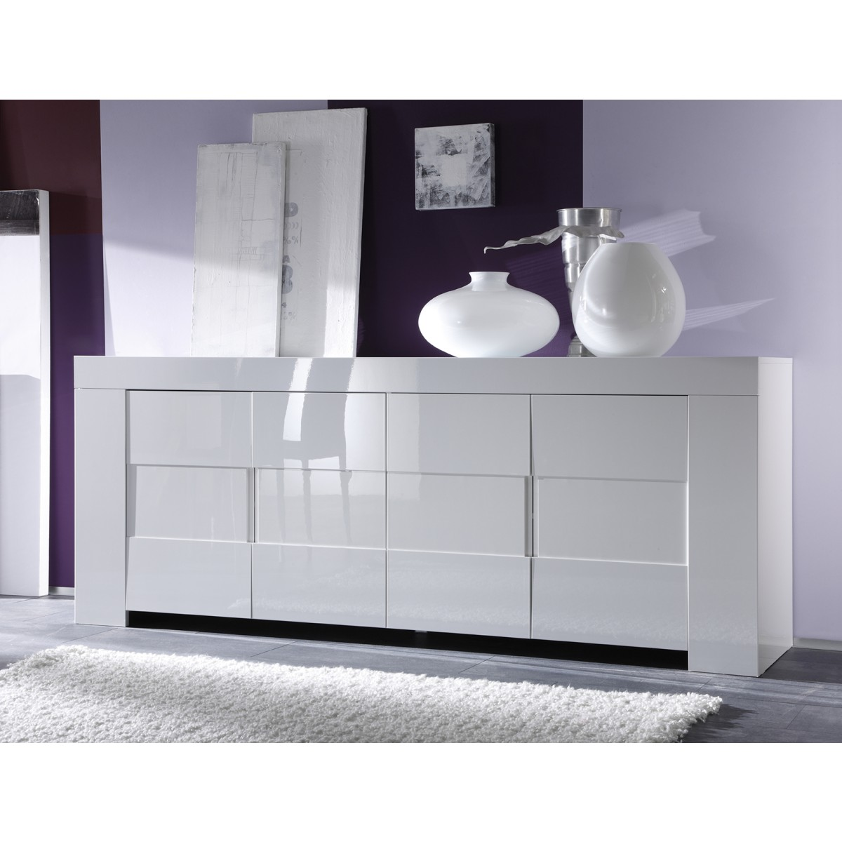 Salle manger blanc laqu buffet 4 portes meuble haut for Sideboard 2 50 m