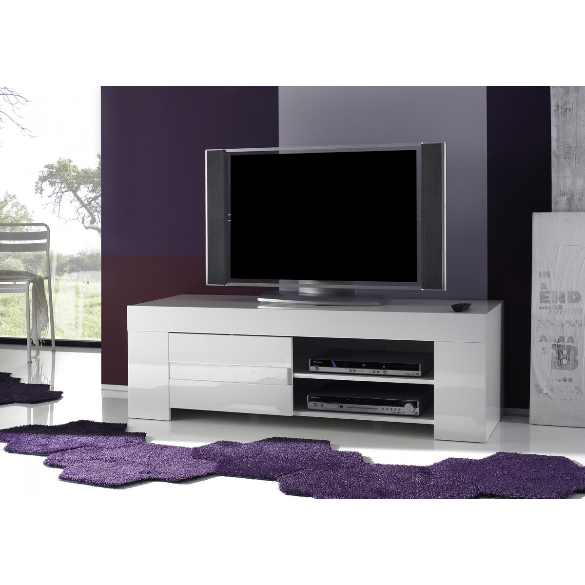 Meuble Tv Design Laque Blanc Pivotant Max Artzein Com # Meuble De Tv D Angle Design