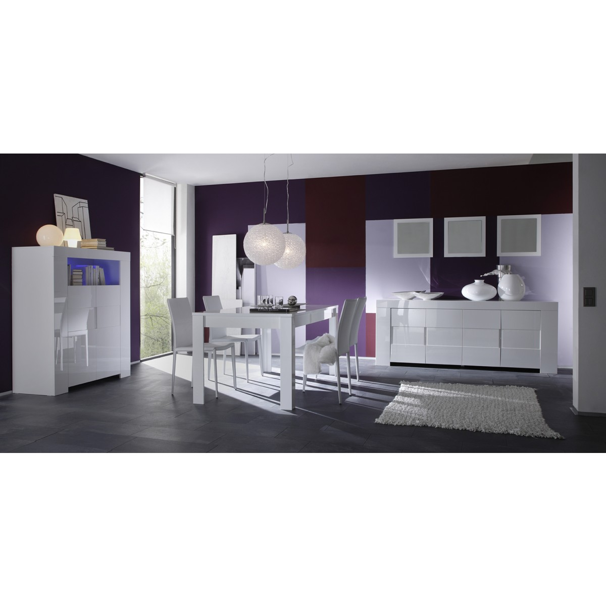 salle manger blanc laqu buffet 4 portes meuble haut. Black Bedroom Furniture Sets. Home Design Ideas