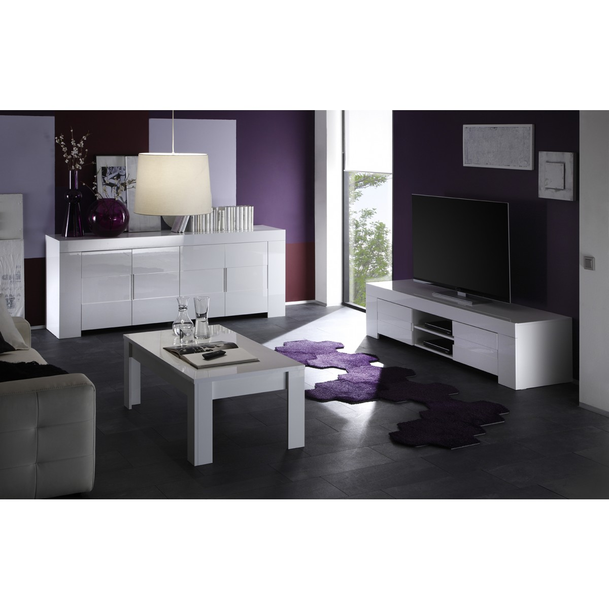 Meuble tv laqu blanc 2 portes eos mooviin for Copie design mobili