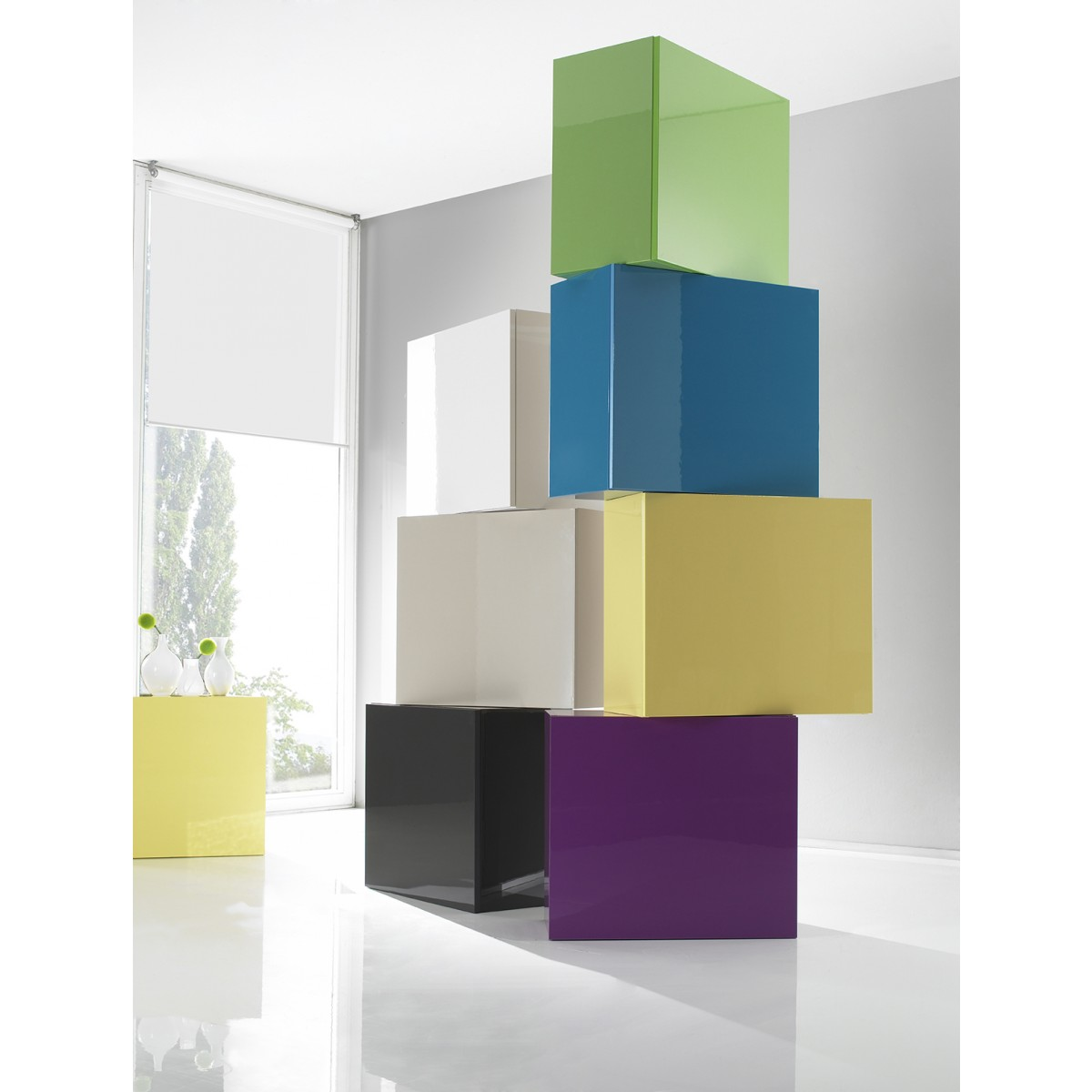 cube de rangement laqu blanc 1 porte box mooviin. Black Bedroom Furniture Sets. Home Design Ideas
