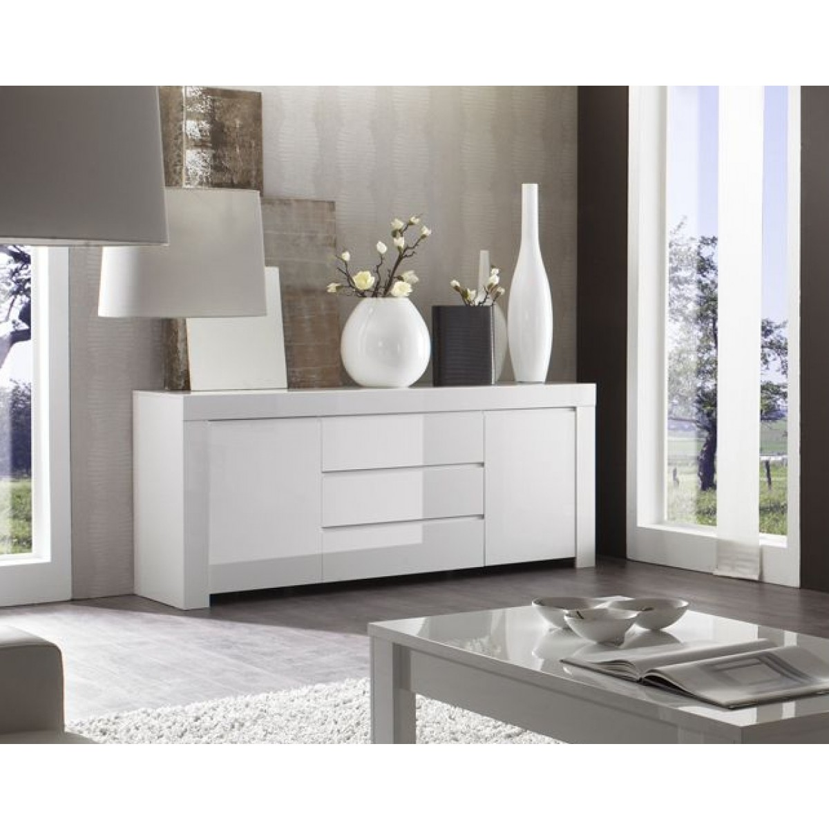 buffet laqu blanc 2 portes 3 tiroirs amalfi mooviin. Black Bedroom Furniture Sets. Home Design Ideas