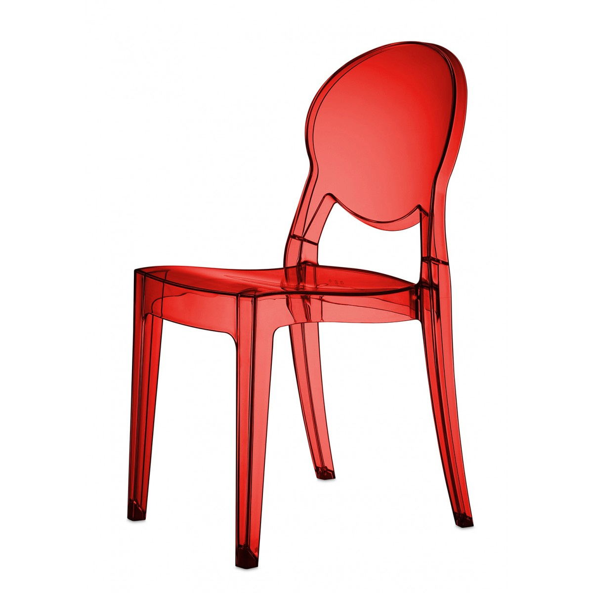 Chaise design rouge translucide polycarbonate mooviin - Chaise rouge transparente ...