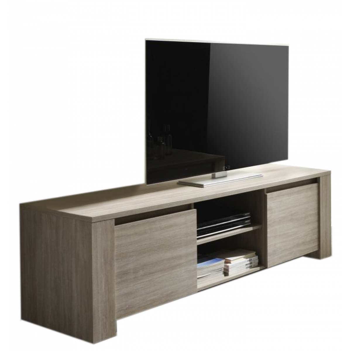 meuble tv finition ch ne gris 2 portes elba mooviin. Black Bedroom Furniture Sets. Home Design Ideas