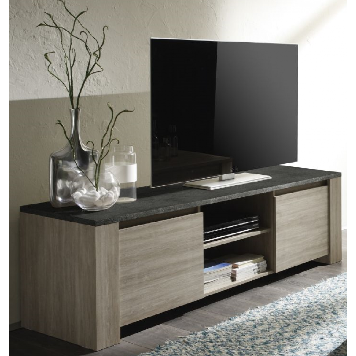 meuble tv finition ch ne gris et ardoise 2 portes elba. Black Bedroom Furniture Sets. Home Design Ideas