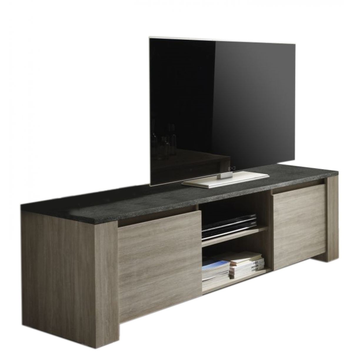 meuble tv finition ch ne gris et ardoise 2 portes elba mooviin. Black Bedroom Furniture Sets. Home Design Ideas