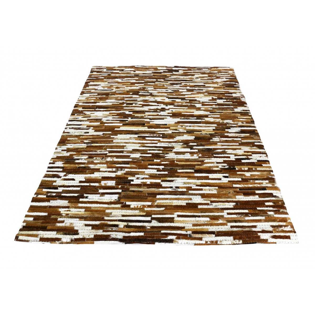 tapis peau de vache natural patchwork marron et blanc 230 cm mooviin. Black Bedroom Furniture Sets. Home Design Ideas