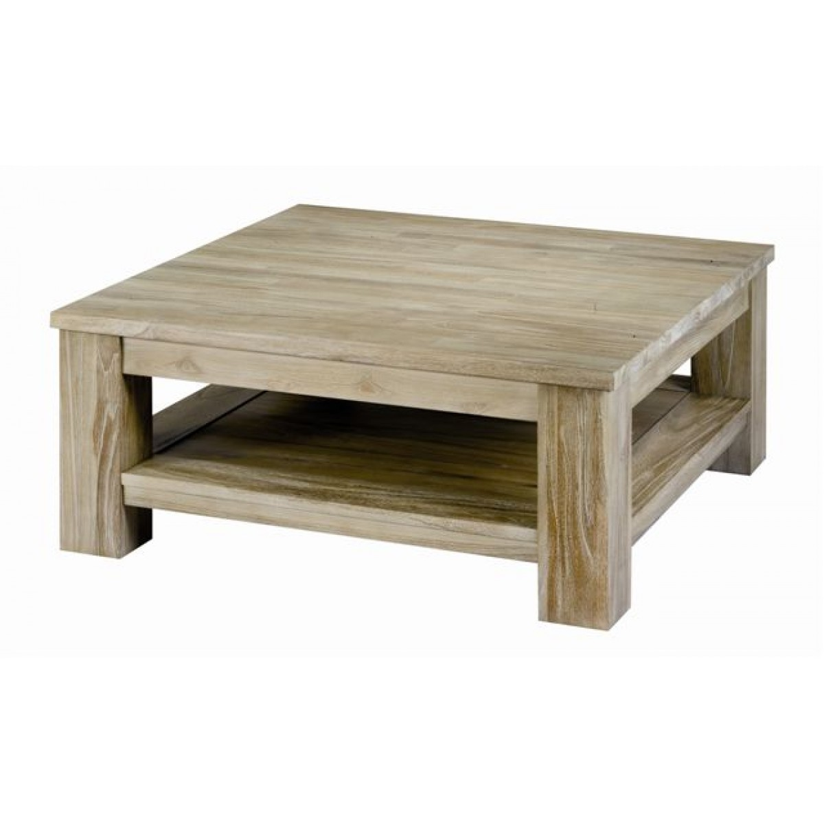 Table Basse Carree Vitree En Teck Brut Qualite