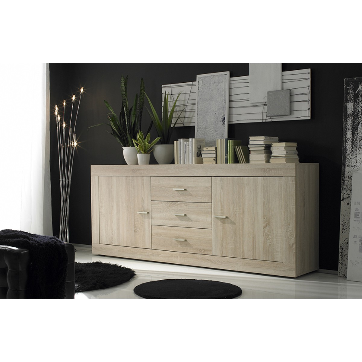 salle manger finition ch ne bross meuble haut buffet 2 portes table 160 cm rustica mooviin. Black Bedroom Furniture Sets. Home Design Ideas