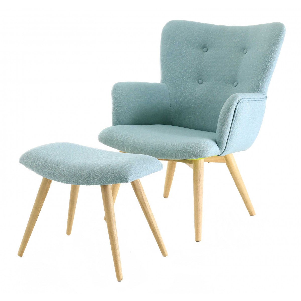 fauteuil repose pieds en polyester style scandinave bleu mooviin. Black Bedroom Furniture Sets. Home Design Ideas
