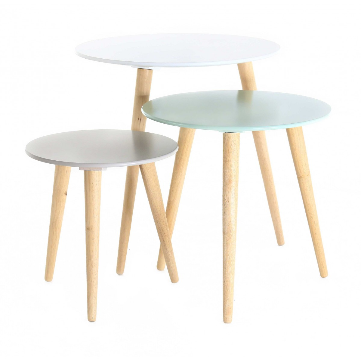 Set de 3 tables gigognes rondes scandinaves mooviin - Table blanche et bois ...