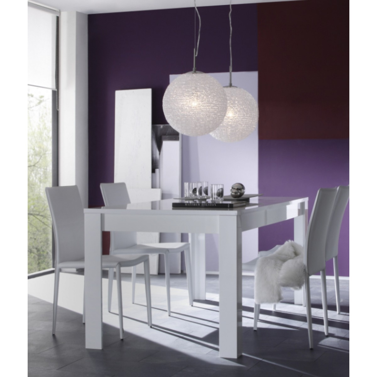 Salle manger blanc laqu buffet 4 portes meuble haut for Copie design mobili