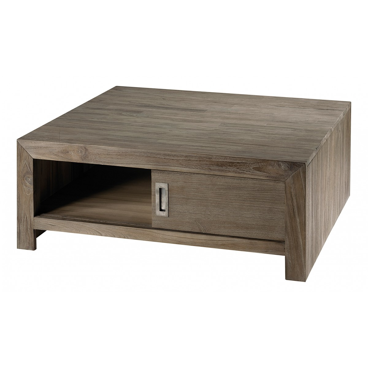Table basse carr e en teck gris 2 portes cosmos mooviin - Table basse carree grise ...