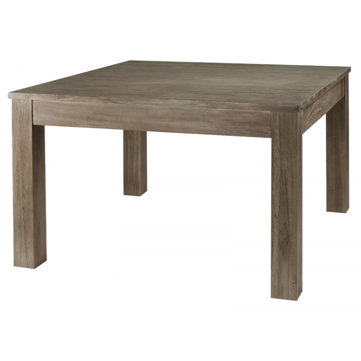 Table carr e en teck gris 120 cm 1 allonge 50 cm cosmos zago store - Table grise avec rallonge ...