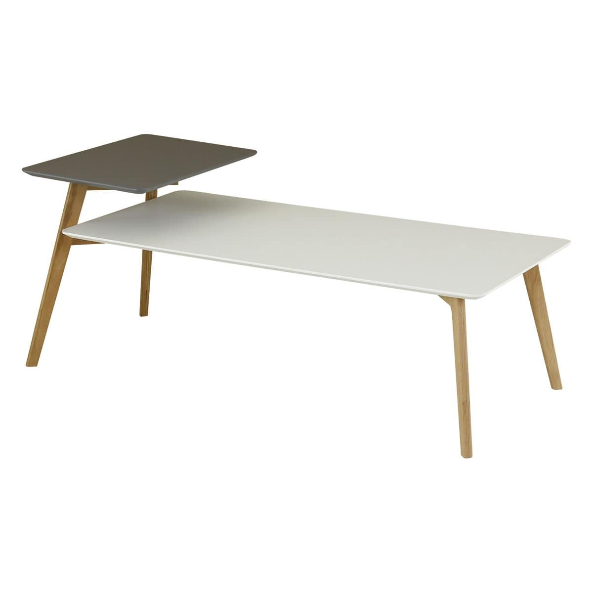 Table basse style scandinave 130 cm double plateaux gris for Table basse scandinave gris et blanc