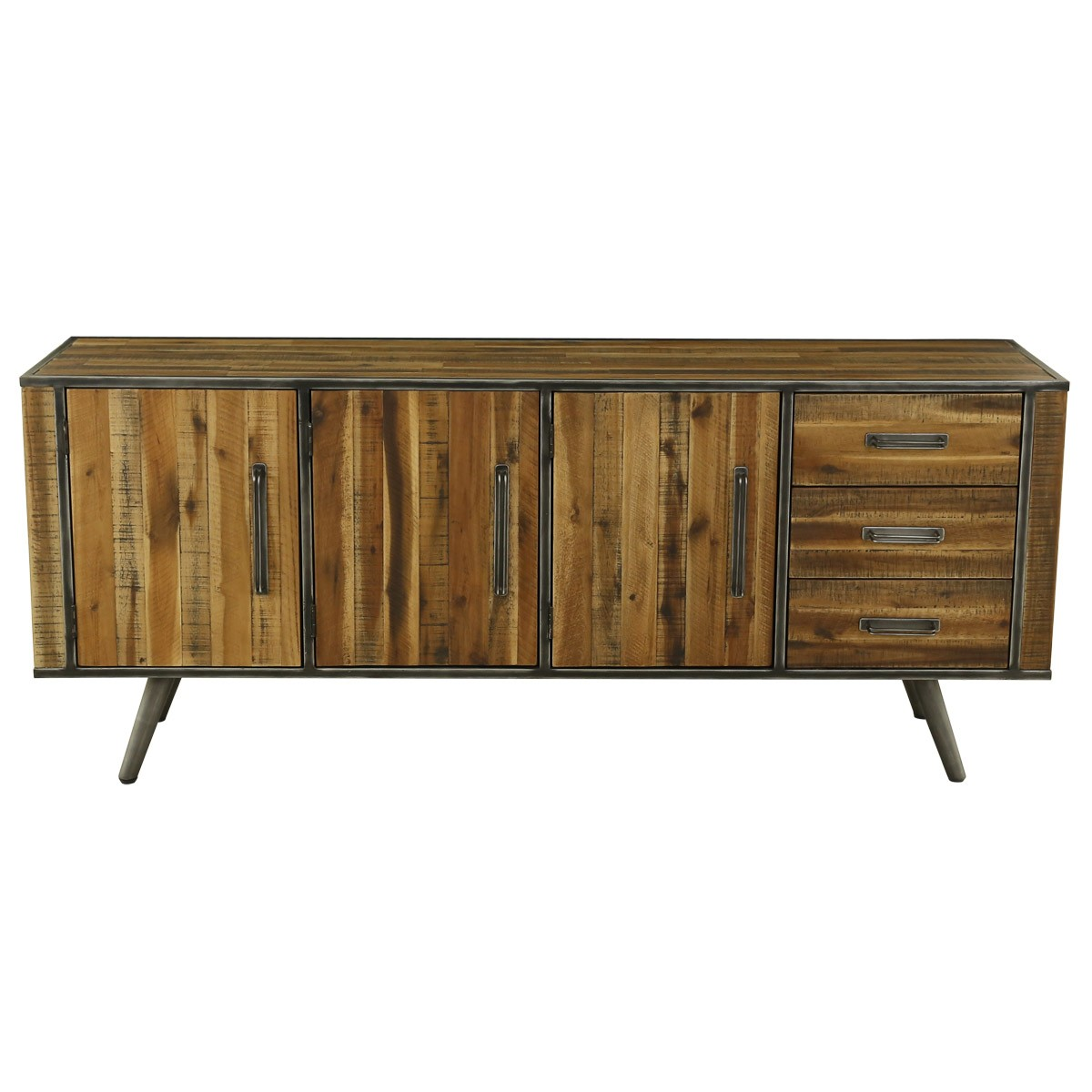 buffet style industriel 3 portes bois et m tal cusco. Black Bedroom Furniture Sets. Home Design Ideas