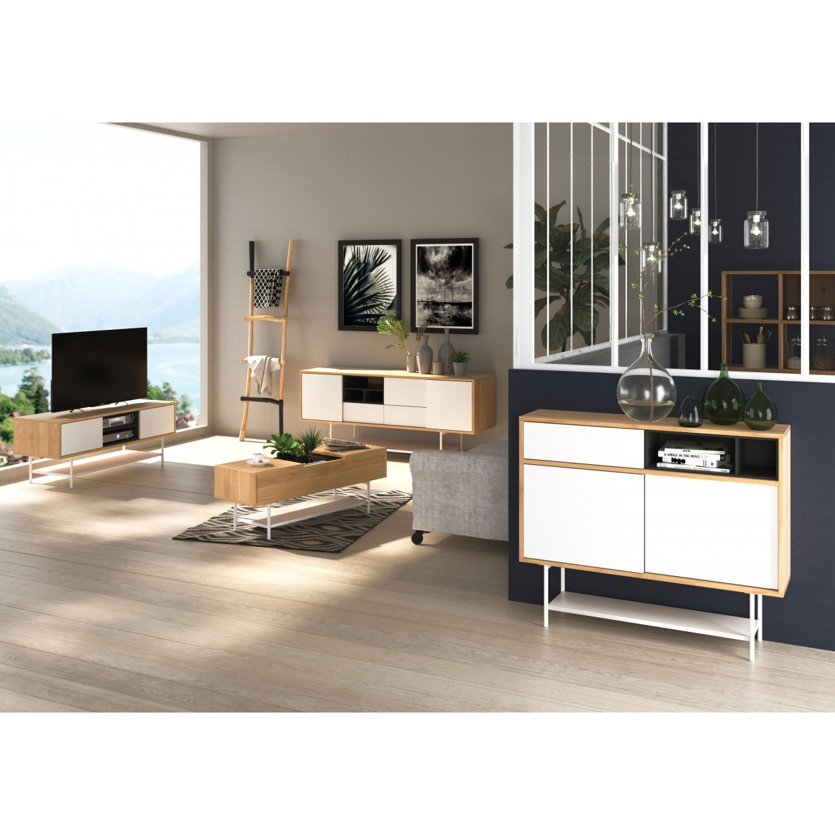 meuble tv style scandinave 2 portes coulissantes plaqu ch ne et laqu blanc esprit zago store. Black Bedroom Furniture Sets. Home Design Ideas