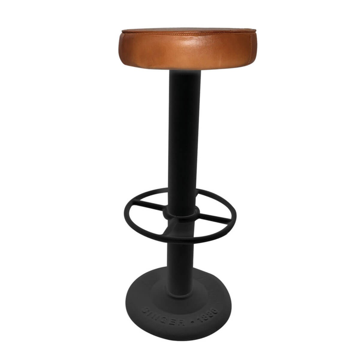 tabouret de bar style industriel cuir et m tal noir pub zago store. Black Bedroom Furniture Sets. Home Design Ideas