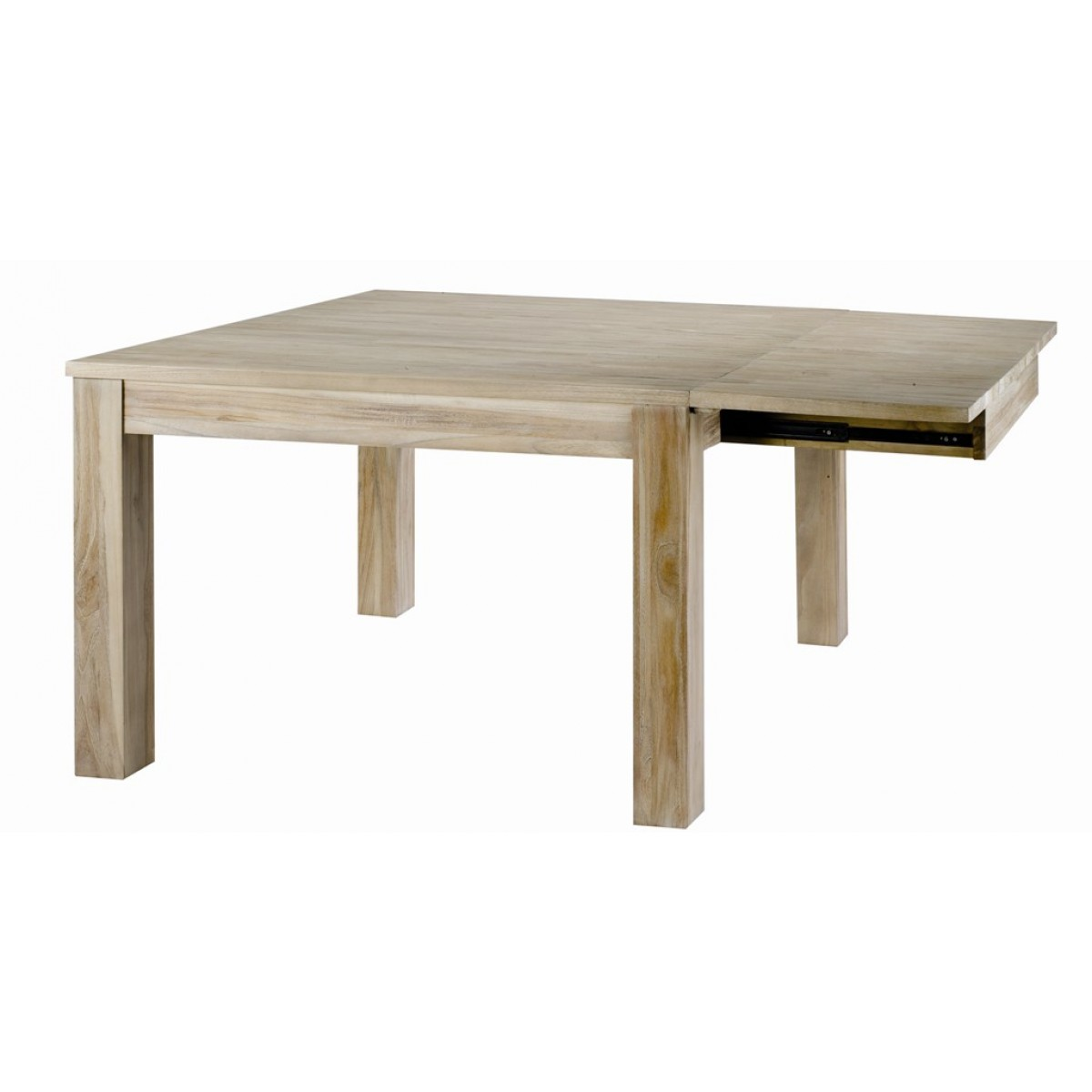 Table carr e en teck lin 120 cm 1 allonge 50cm - Meuble zago cosmopolitan ...