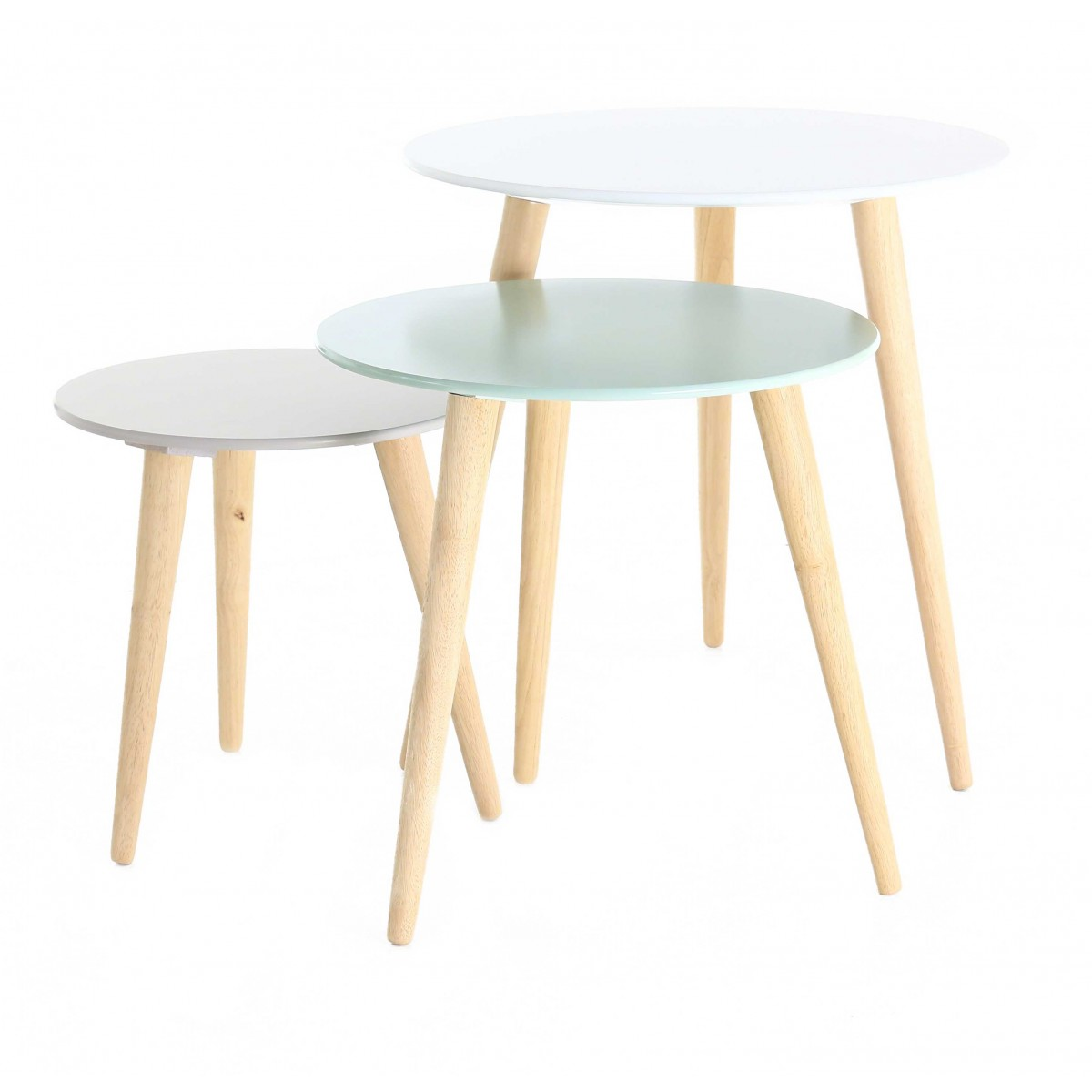 Set de 3 tables gigognes rondes scandinaves zago store - Table gigogne blanche ...