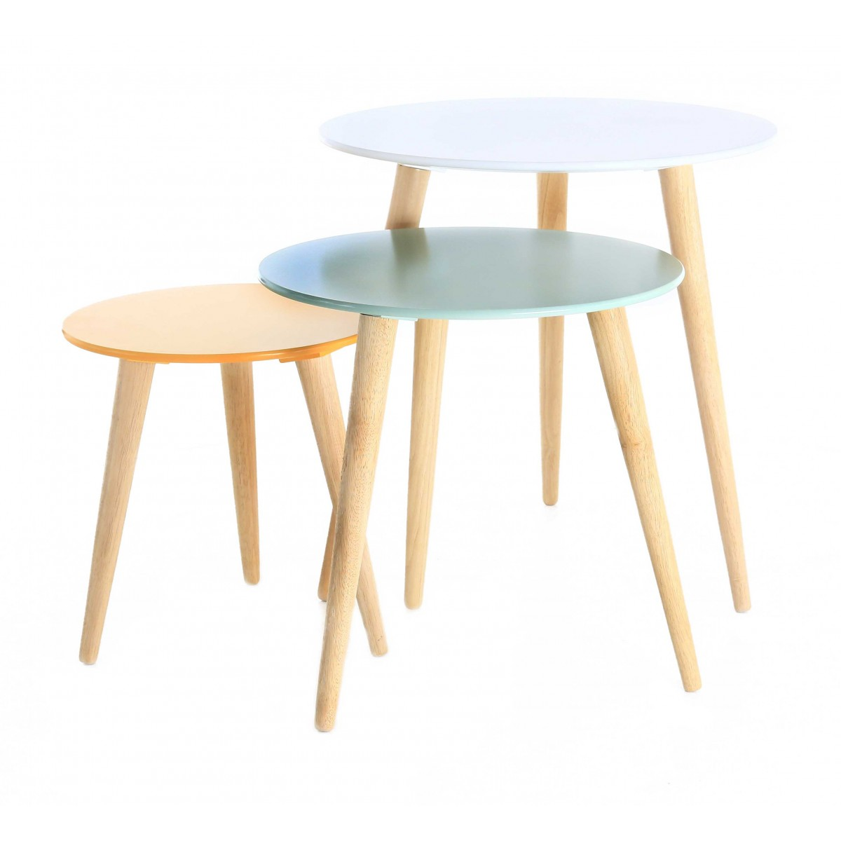 Set de 3 tables gigognes rondes scandinaves zago store for Table blanche et bois