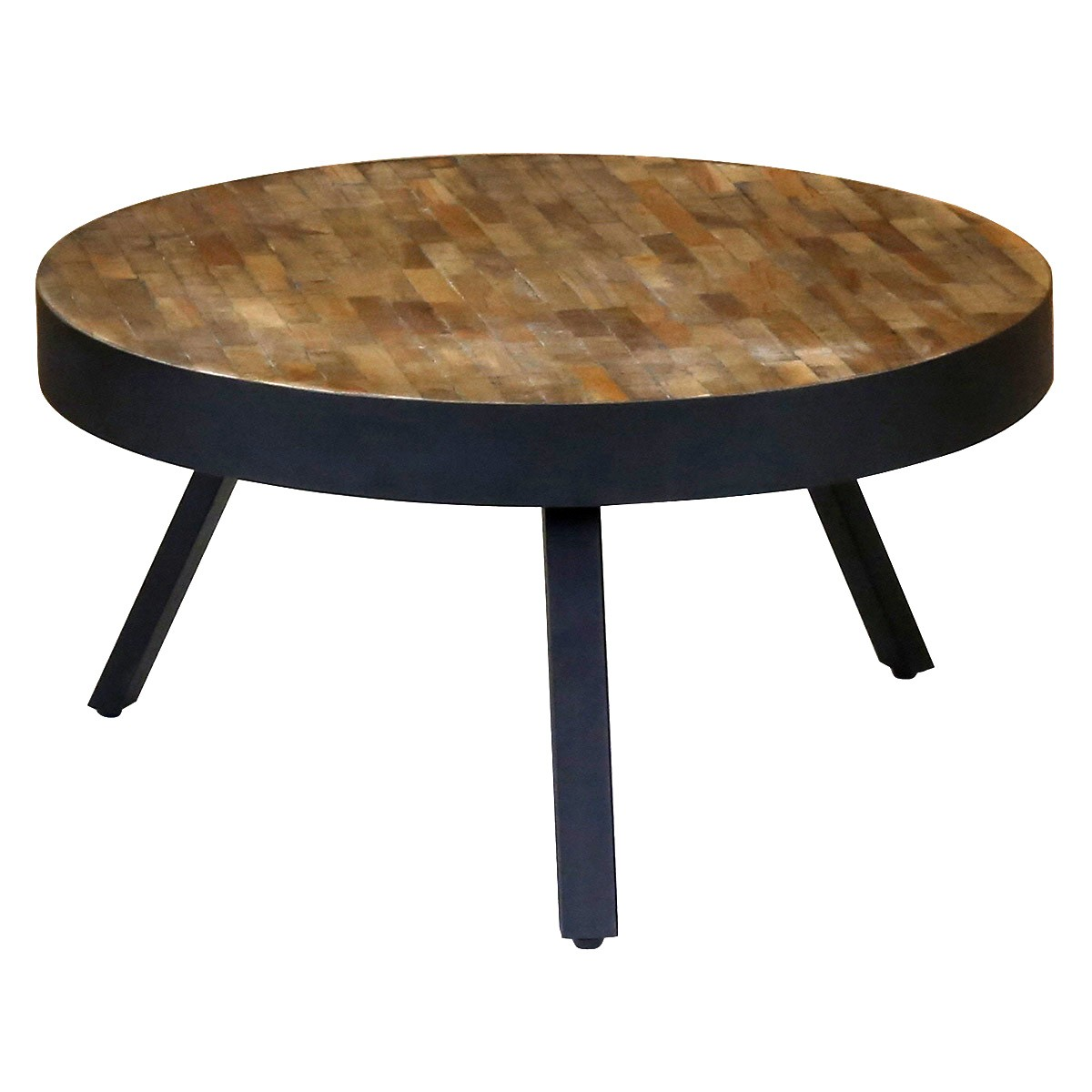 Table basse ronde teck et m tal style industriel et loft 76 cm woody zago - Table basse ronde salon ...
