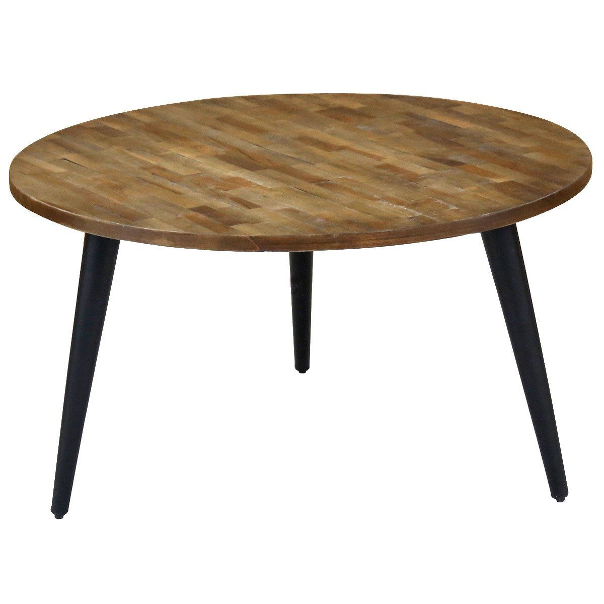 table basse ronde teck pi tement m tal 80 cm style industriel woody zago store. Black Bedroom Furniture Sets. Home Design Ideas