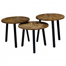 3x Tables d'appoint gigognes rondes Ø54 cm Woody